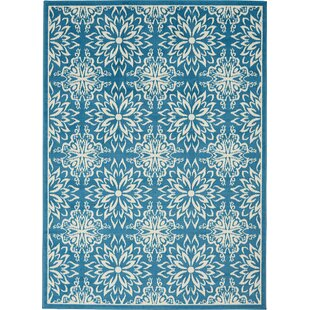 Boggess Floral Ivory/Blue Area Rug by Bungalow Rose