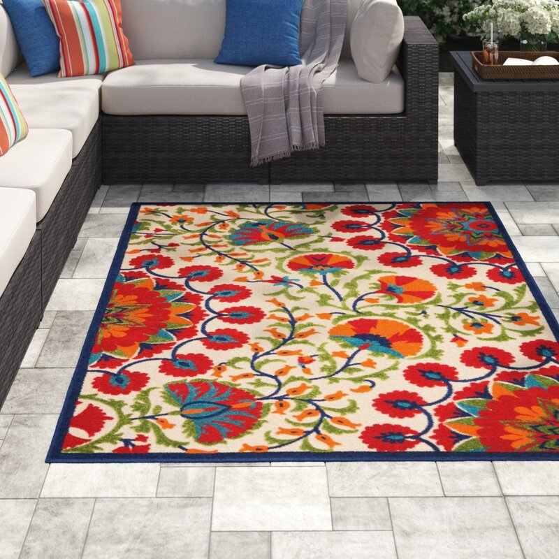 Outdoor Lahaina Fl Ivory Red Green