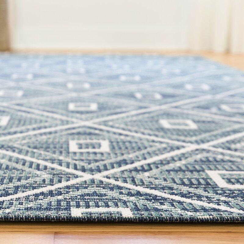 Wrought Studio Andes Geometric Teal Indoor Outdoor Area Rug