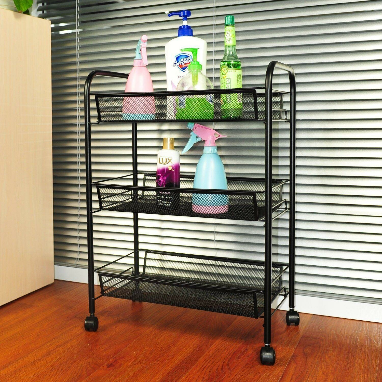 Winado 3 Tier Rolling Kitchen Trolley Cart Island Wire Rack Shelf Stand W Caster Us Wayfair