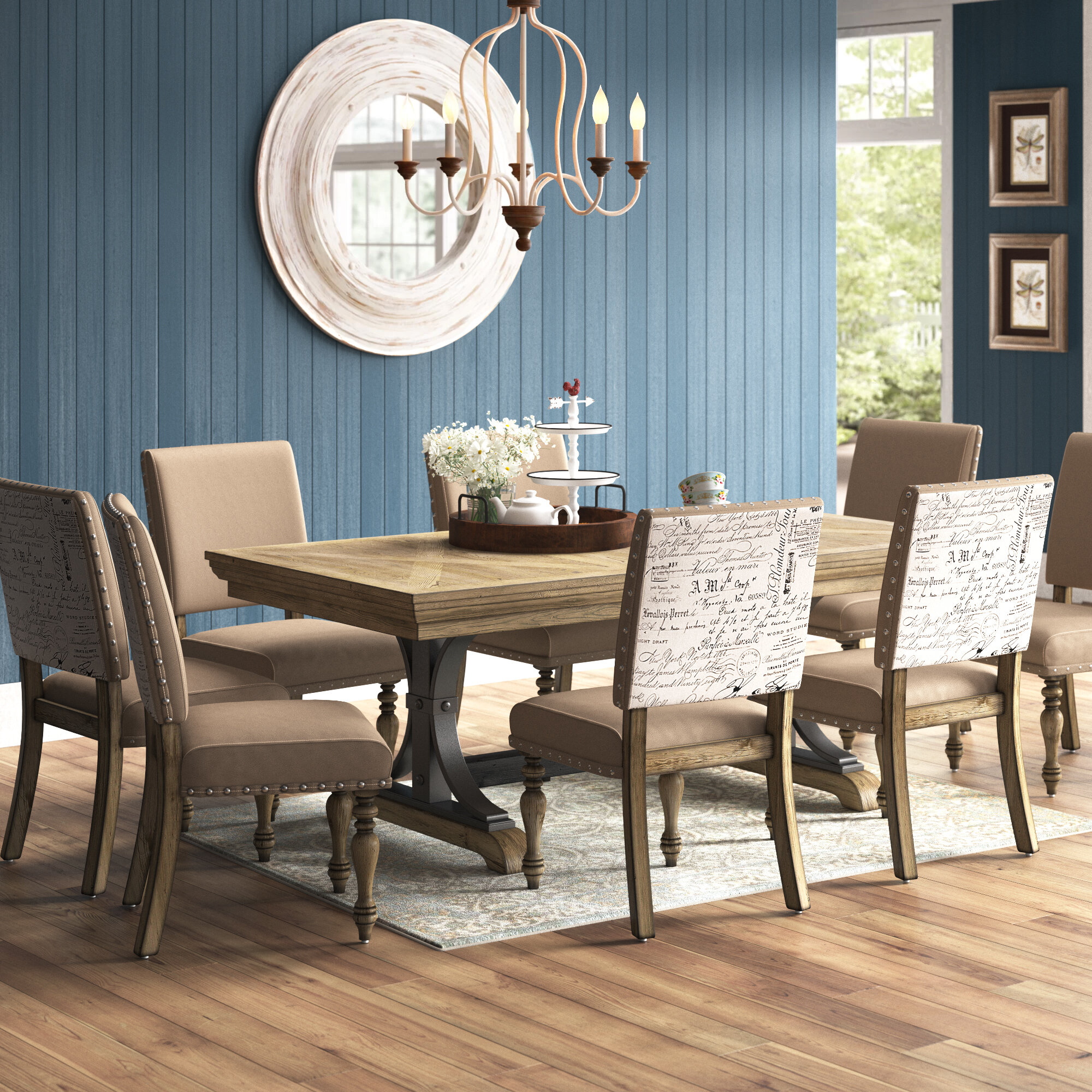 One Allium Way Alfano 9 Piece Extendable Dining Set Reviews Wayfair