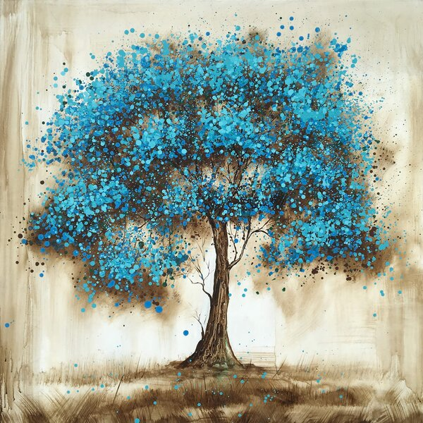Winston Porter Blue Tree Oil Painting Print On Wrapped