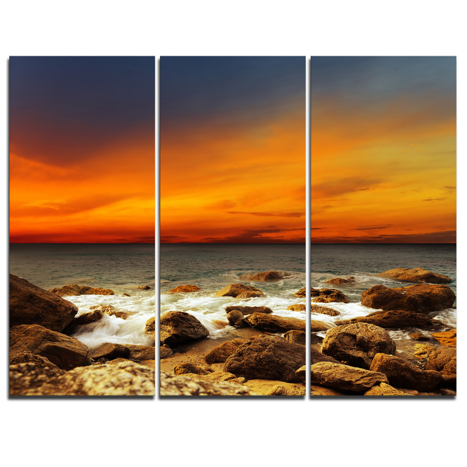 Designart Red Sky Over Rocky Seashore 3 Piece Graphic Art On Wrapped Canvas Set Wayfair