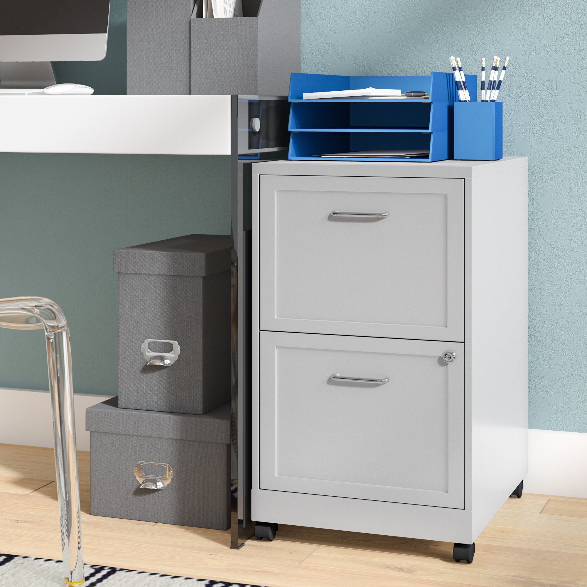 YITAHOME 2-Drawer Mobile File Cabinet with Interlock System,Round Edge and Casters Black Vertical Filing Cabinets Office Drawer for Legal//Letter//A4 Documents Fully Assembled Except Casters