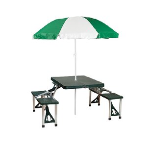 Katerina Folding Aluminum Camping Table with Umbrella