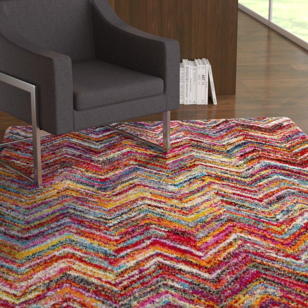 Ebern Designs Dorchester Bright Pink Medium Gray Chevron Area Rug Wayfair