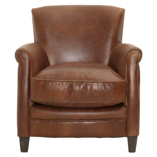 Canora Grey Mcintosh Leather Upholstered with Wooden Legs Club Chair