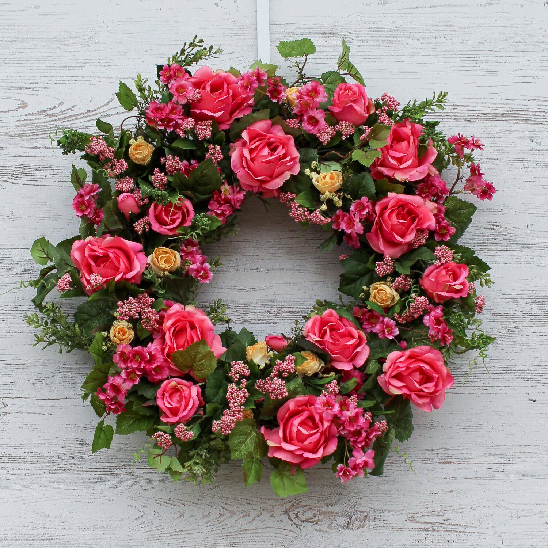 One Allium Way Cabbage Rose Plum Blossom Summer Front Door 26 Wreath Wayfair