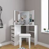 Cagla Vanity Set with Stool and Mirror by Latitude Run®