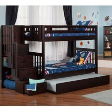 Twin over Twin Bunk Bed with Staircase and Trundle by Viv + Rae