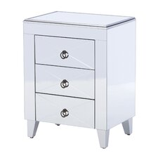 Linnea Mirrored 3 Drawer Side Table