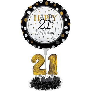21st Birthday Balloon Paper Disposable Centerpiece Kit