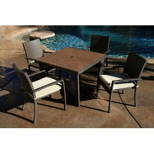 Cicero 5 Piece Arm Dining Set with Cushions