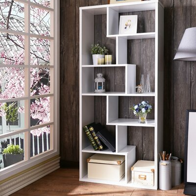 Saltzman Geometric Bookcase Ebern Designs Finish: White