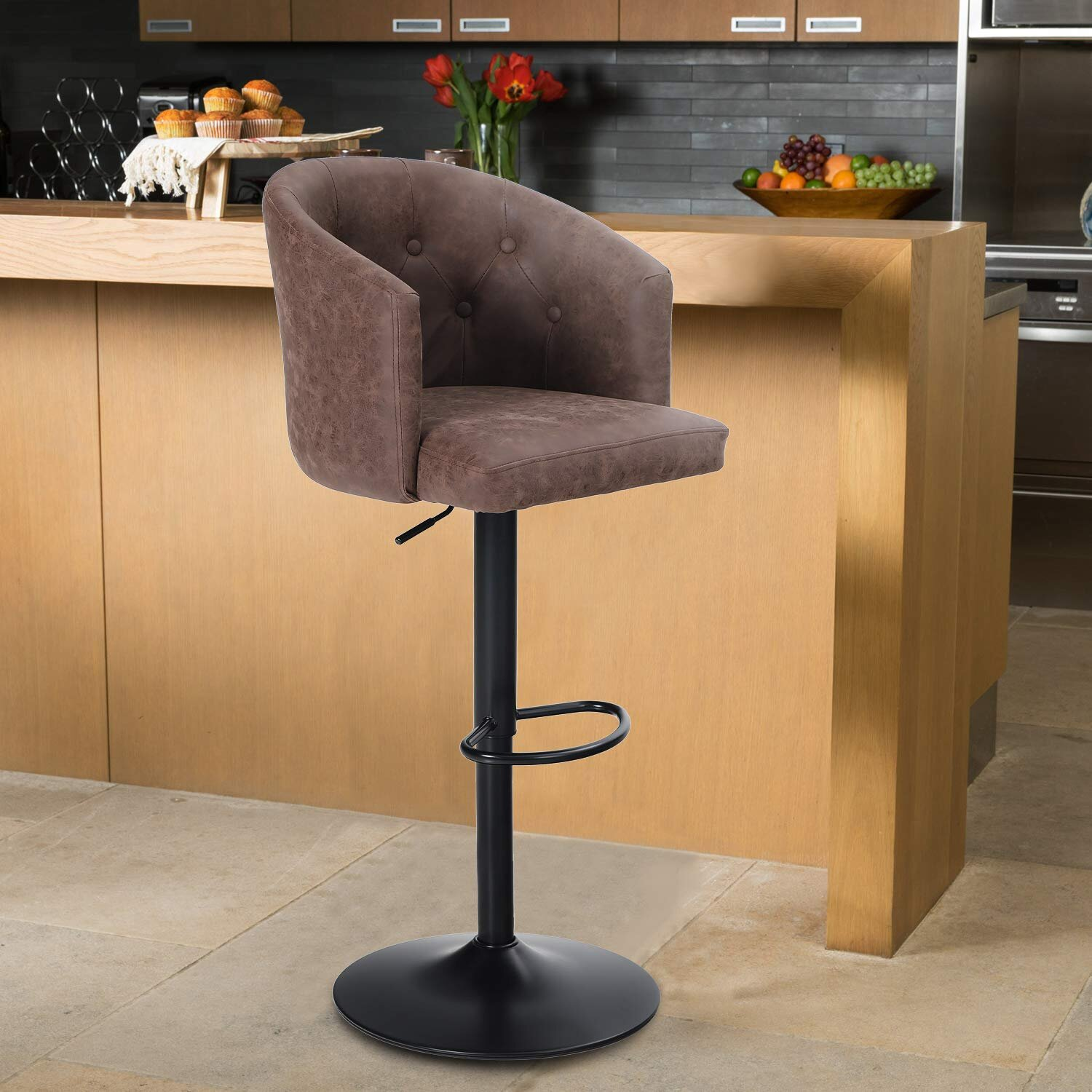 Picture of: 17 Stories Height Bar Stool Height Adjustable Barstool For Kitchen Counter Swivel Bar Chair With Rounded Mid Back For Kitchen Island Brown 1 Stool Wayfair