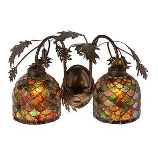 Meyda Tiffany Acorn and Oak Leaf 2-Light Vanity Light