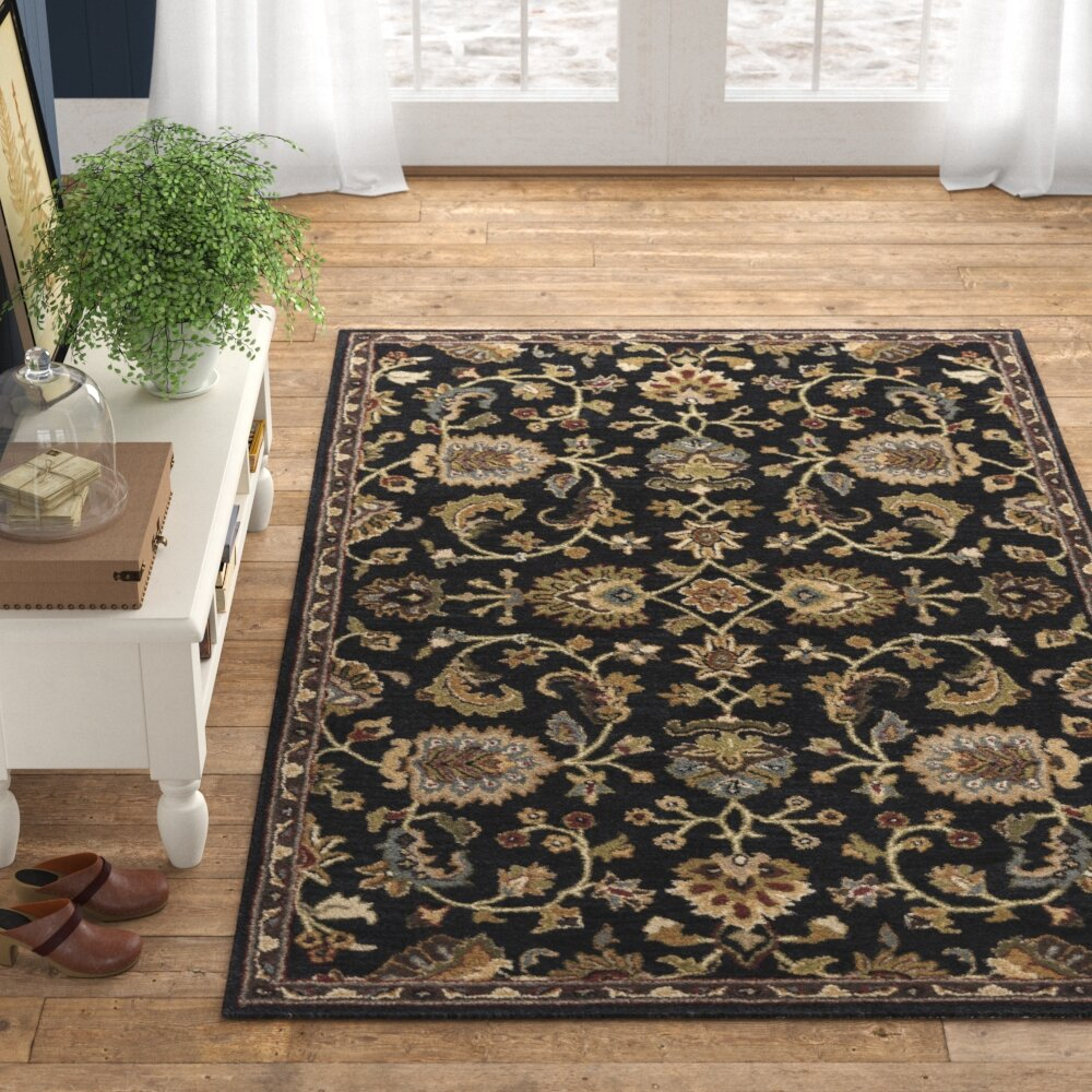 Wanda Oriental Handmade Tufted Wool Navy Dark Green Area Rug Reviews Birch Lane
