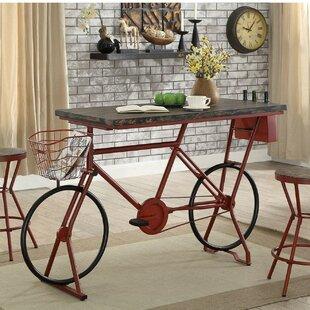 Hayley Metal Bicycle Base Distressed Wood Pub Table by 17 Stories