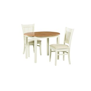 August Grove Shippy 3 Piece Extendable Solid Wood Dining Set