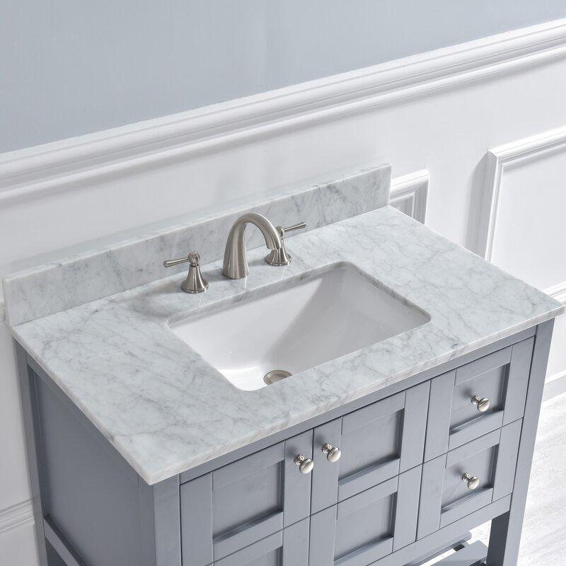 Woodbridge 37 Single Bathroom Vanity Top In Carra White With Sink Reviews Wayfair