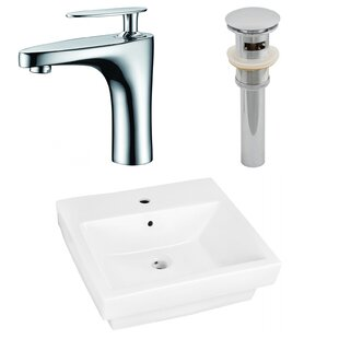 American Imaginations Ceramic Rectangular Drop-In Bathroom Sink with Faucet