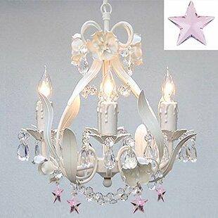 Floral 4-Light Crystal Cha..