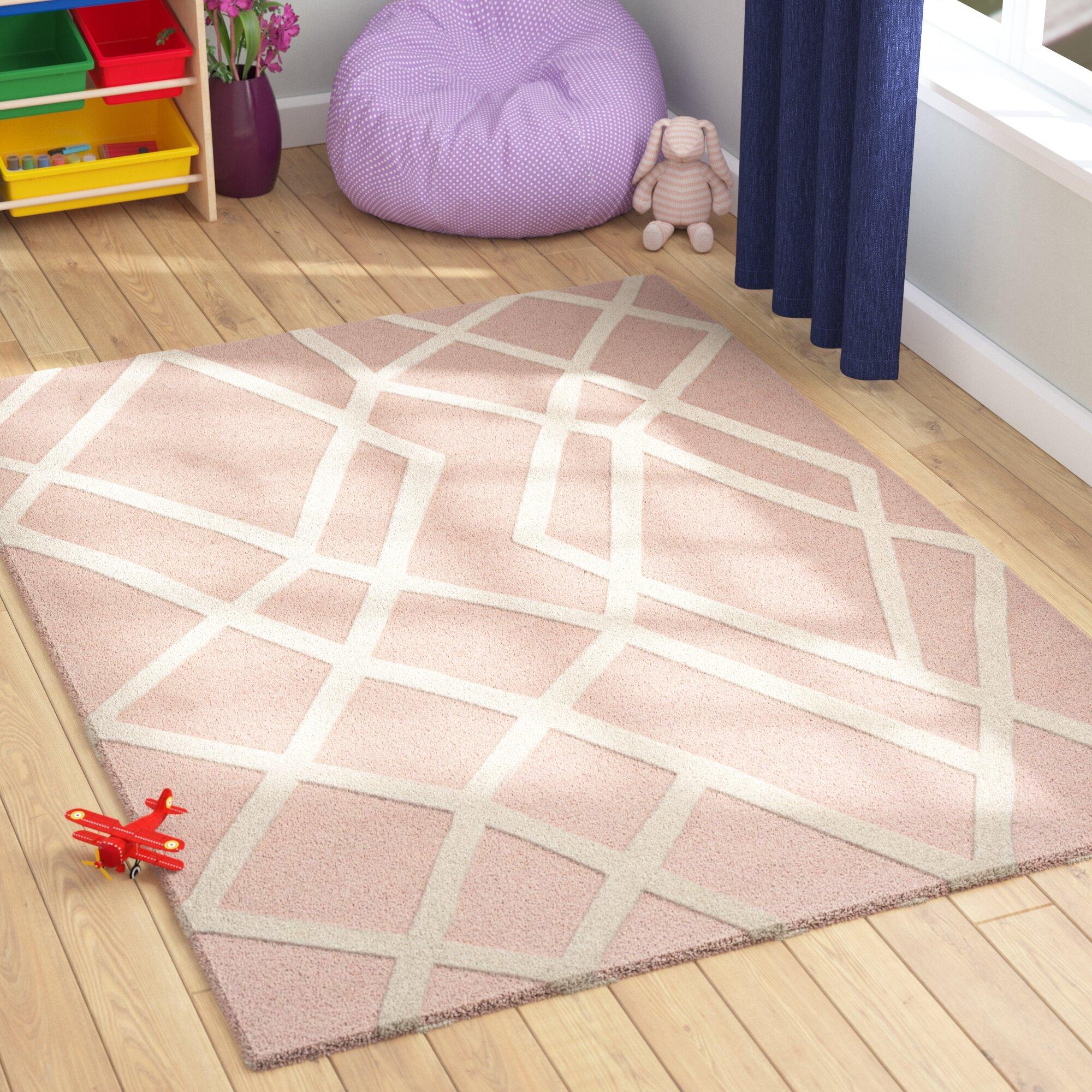 Harriet Bee Reid Geometric Handmade Tufted Wool Pink Area Rug Reviews Wayfair