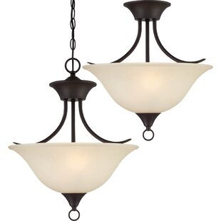 Whetsel Contemporary 2-Light Pendant or Semi Flush Mount by Fleur De Lis Living