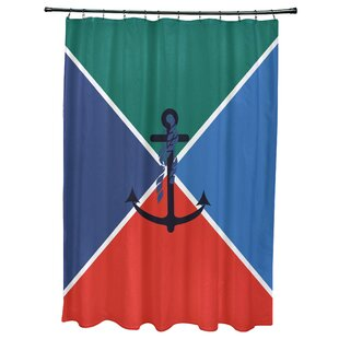 Hancock Anchor Flag Geometric Print Single Shower Curtain