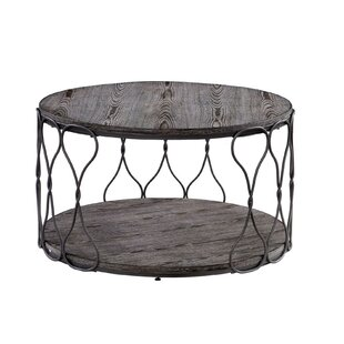Purser Industrial Round Metal and Solid Wood Coffee Table