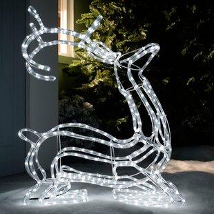 Pre-Lit 3D Sitting Reindeer 24 Light Rope Lighted Display By The Seasonal Aisle