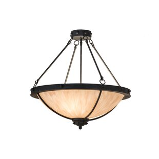 Meyda Tiffany Greenbriar Oak Freya 3-Light Semi-Flush Mount