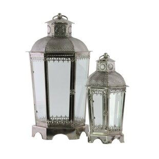 Hexagonal 2 Piece Metal Lantern Set