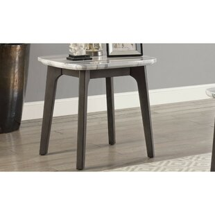 Sharonville Marble Top Tapered Wood Legs End Table by Ivy Bronx