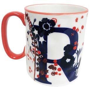 Erwin Floral 'R' Initial Coffee Mug