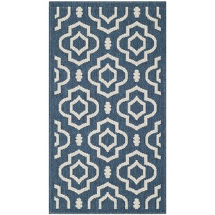 Larson Navy/Beige Indoor/Outdoor Area Rug