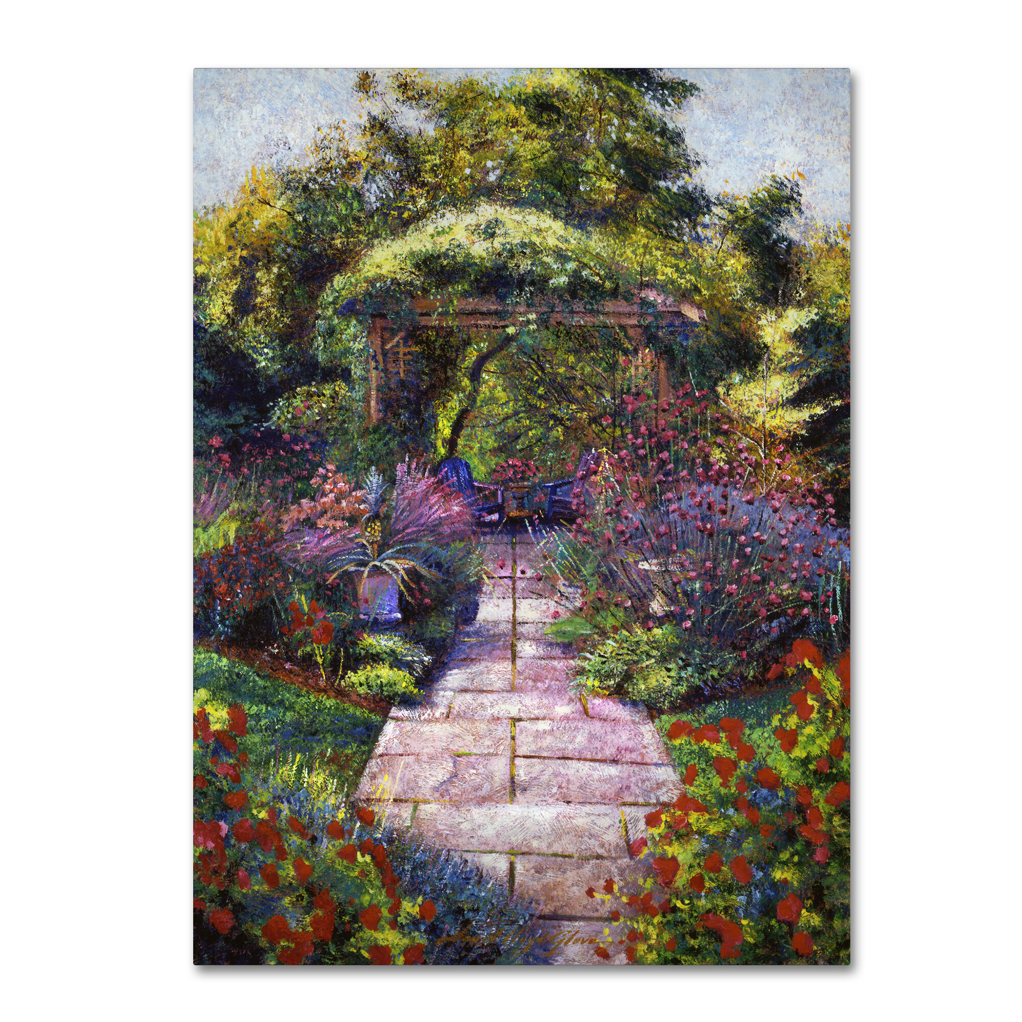 \'Two Blue Garden Chairs\' Painting Print on Wrapped Canvas