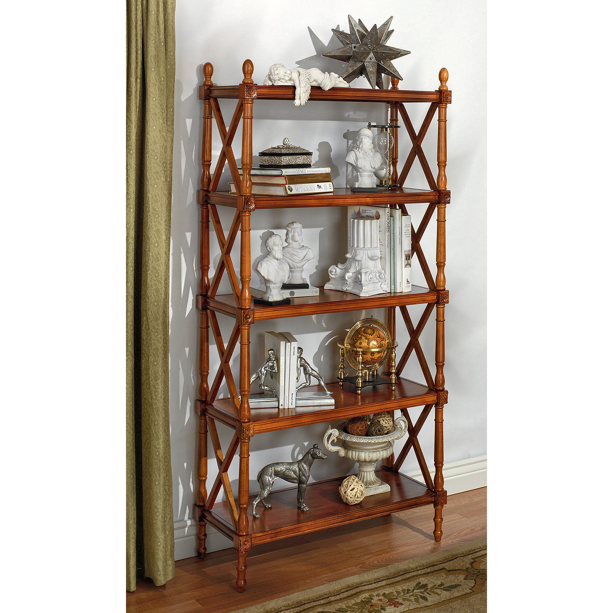 Furniture Bookcase 3 Shelf Solid Wood Open Back Transitional