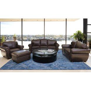 Hewitt 4 Piece Italian Leather Living Room Set