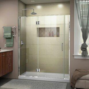 DreamLine Unidoor-X 54 1/2-55 in. W x 72 in. H Frameless Hinged Shower Door