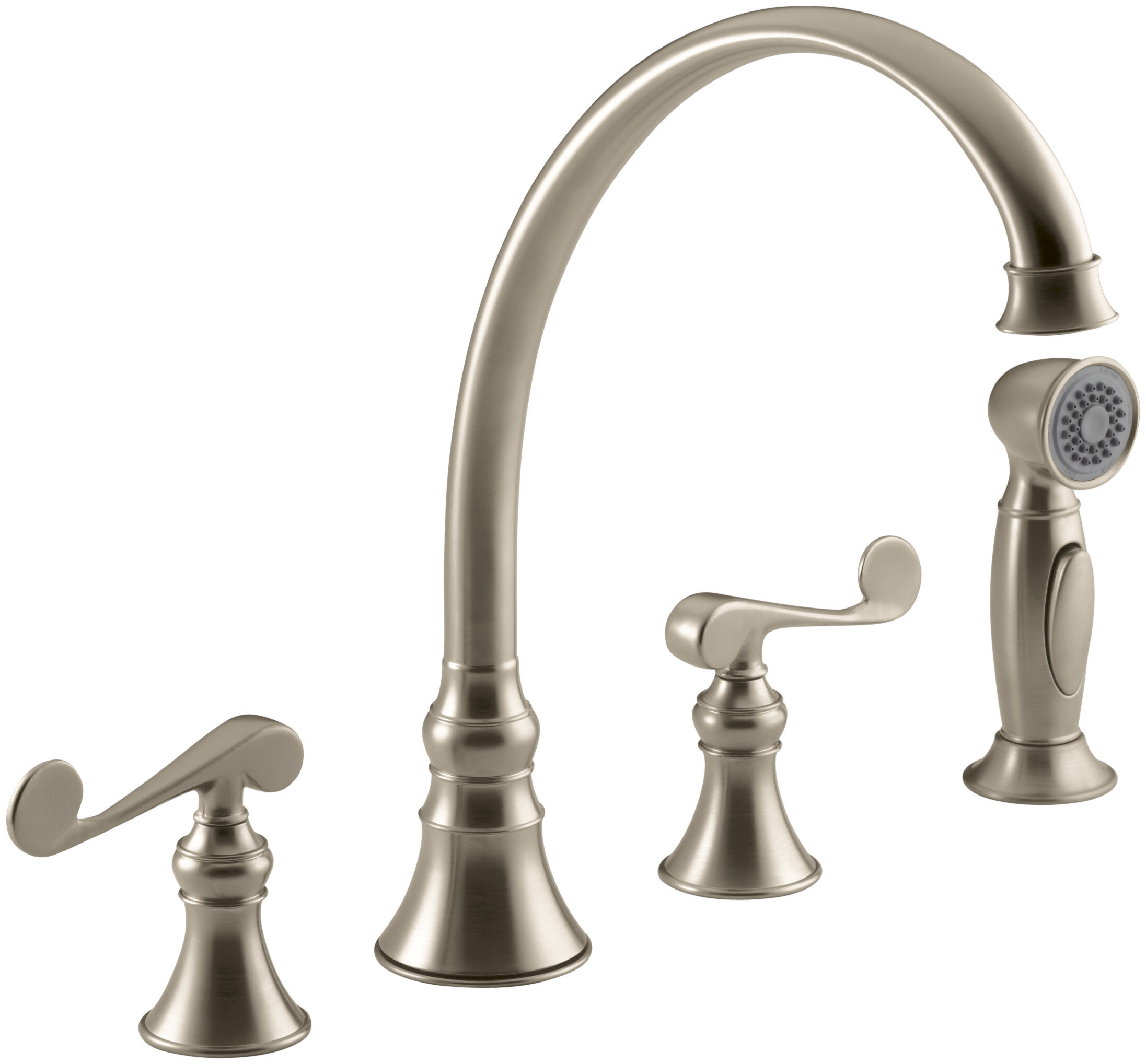 Kohler Revival 4 Hole Kitchen Sink Faucet With 9 3 16 Spout Matching Finish Sidespray And Scroll Lever Handles Reviews Wayfair Ca