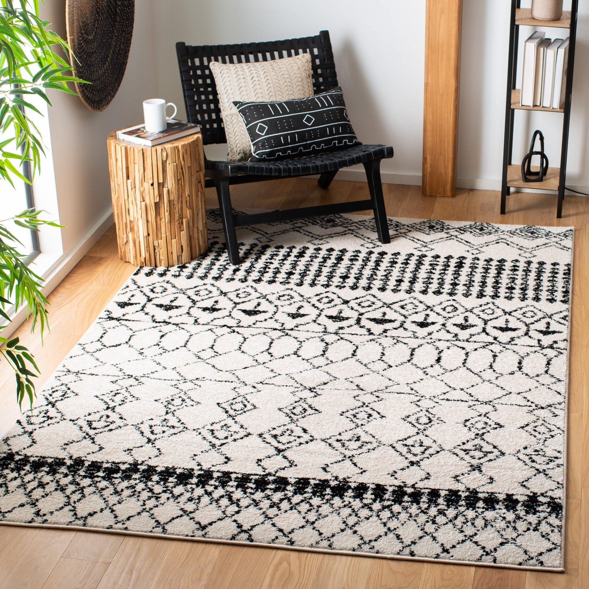 Foundry Select Cobos Geometric Black Rug Reviews Wayfair
