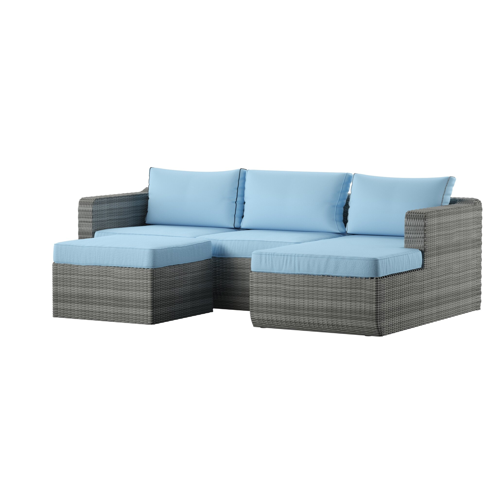 Penwell 3 Piece Sofa Seating Group with Cushions