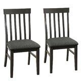 Lierre Linen Slat Back Side Chair in Dark Gray (Set of 2) by Red Barrel Studio®