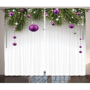 christmas decorations tree decorations tinsel and ball with gift wrap ribbon picture graphic print text semi sheer rod pocket curtain panels set of 2