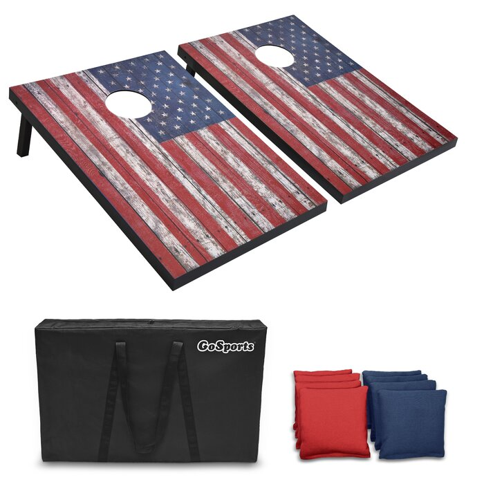Superb 2 X 3 American Flag Solid Manufactured Wood Cornhole Board With Carrying Case Cjindustries Chair Design For Home Cjindustriesco