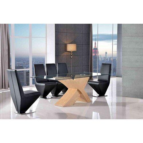 Ediz Glass Dining Set with 6 Chairs Ebern Designs Colour