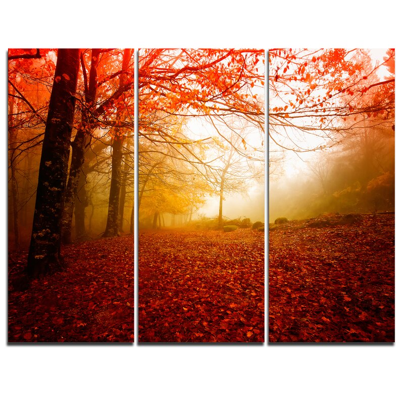 Designart Yellow Sun Rays In Red Forest 3 Piece Graphic Art On Wrapped Canvas Set Wayfair