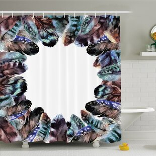 Boho Circle Round Frame with Shabby Ornate Feathers Retro Gypsy Art Decor Shower Curtain Set