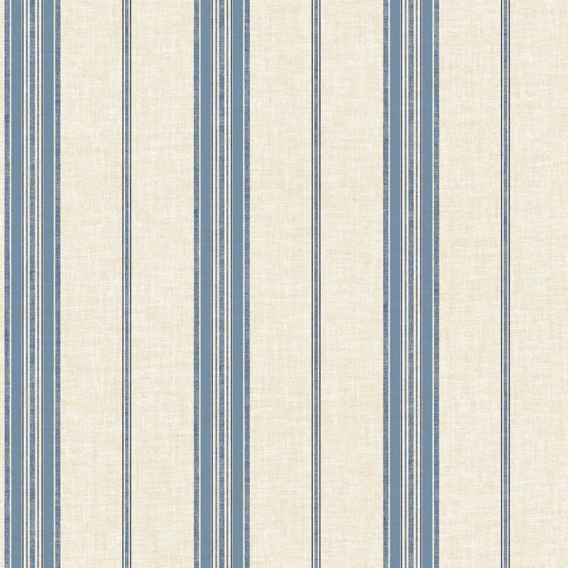 "Cobalt Blues 33' L x 20.5"" W Striped Wallpaper Roll"